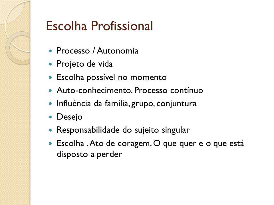 Escolha Profissional Processo / Autonomia Projeto de vida Escolha possível no momento Auto-conhecimento. Processo contínuo Influência da família, grup