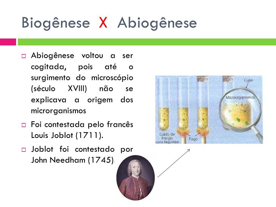 Biogênese X Abiogênese Abiogênese voltou a ser cogitada, pois até o surgimento do microscópio (século XVIII) não se explicava a origem dos microrganismos Foi contestada pelo francês Louis Joblot (1711).