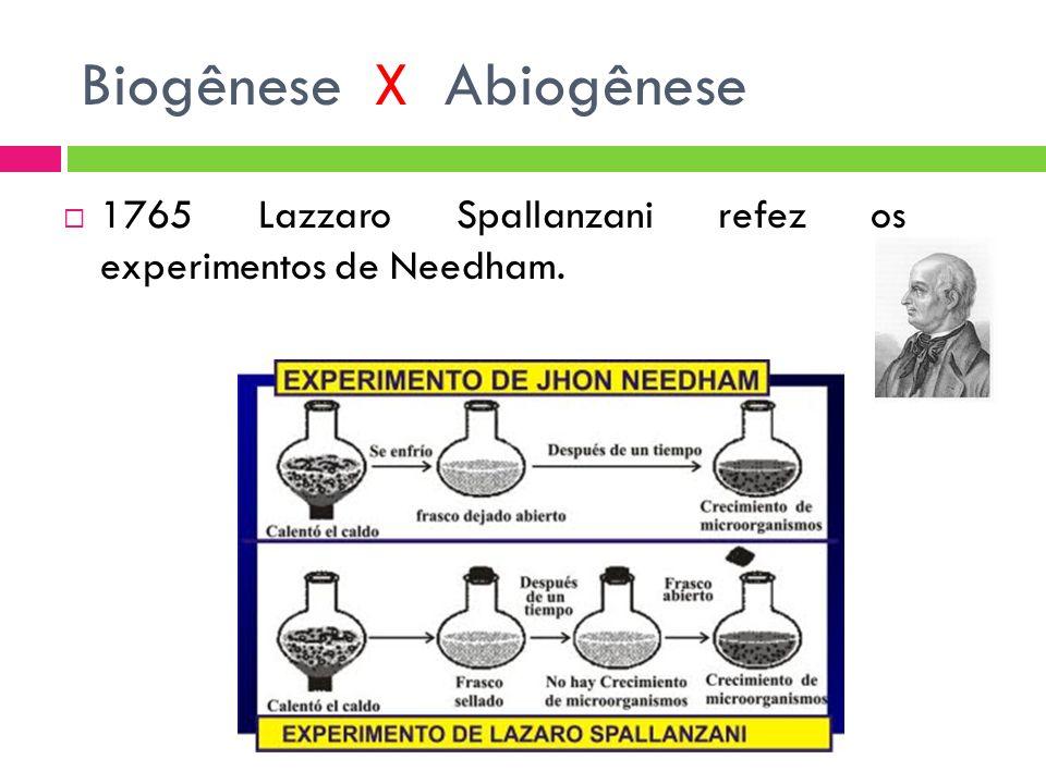 Biogênese X Abiogênese 1765 Lazzaro Spallanzani refez os experimentos de Needham.
