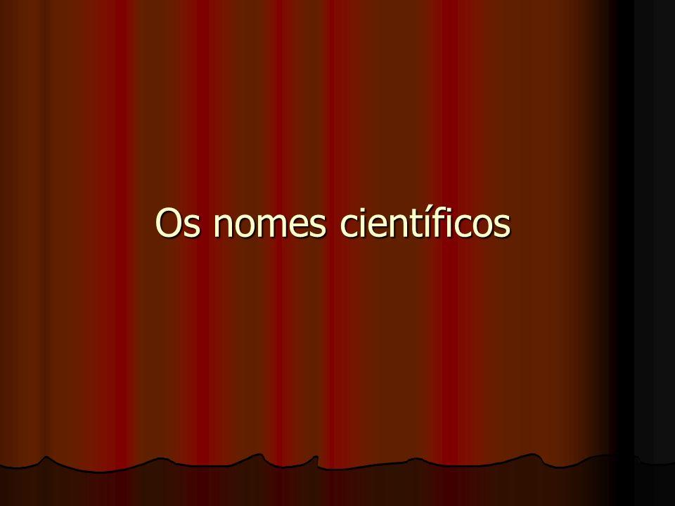 Os nomes científicos