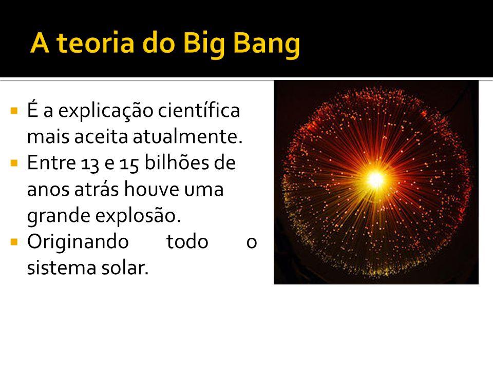 É a explicação científica mais aceita atualmente. Entre 13 e 15 bilhões de anos atrás houve uma grande explosão. Originando todo o sistema solar.