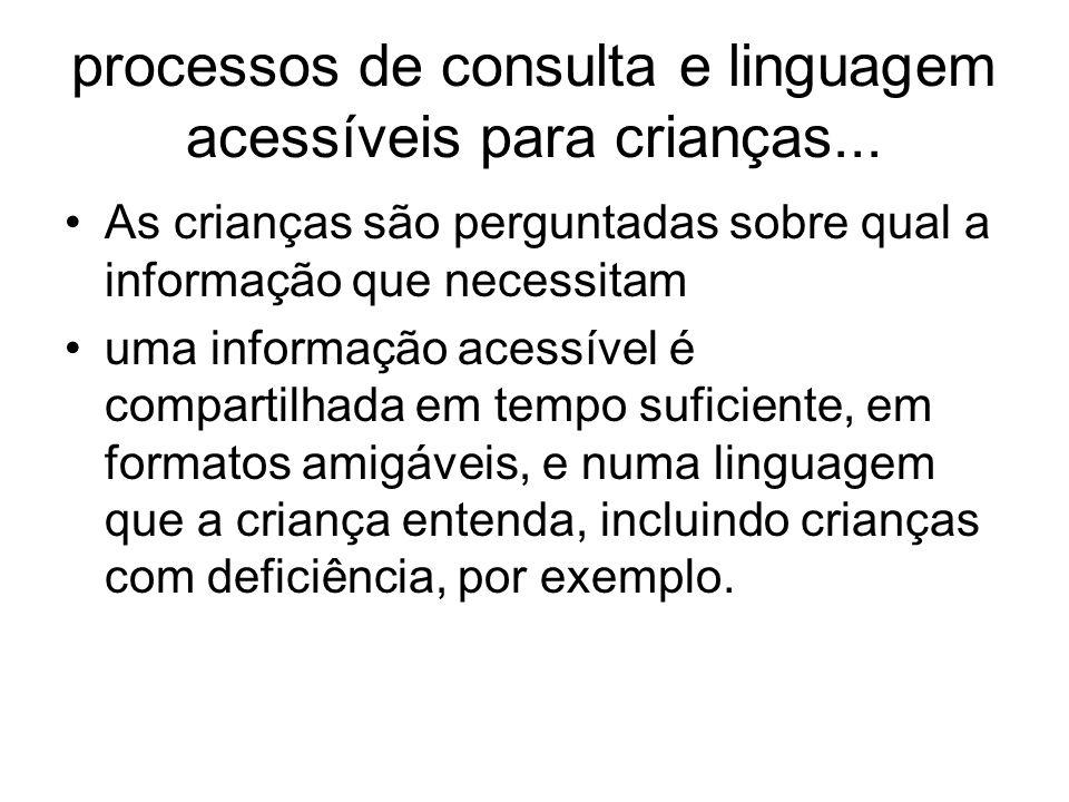 processos de consulta e linguagem acessíveis para crianças... As crianças são perguntadas sobre qual a informação que necessitam uma informação acessí