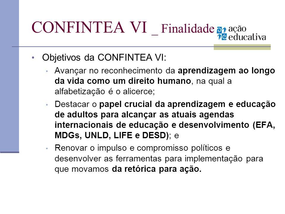 CONFINTEA VI _ Finalidade Objetivos da CONFINTEA VI: Avançar no reconhecimento da aprendizagem ao longo da vida como um direito humano, na qual a alfa