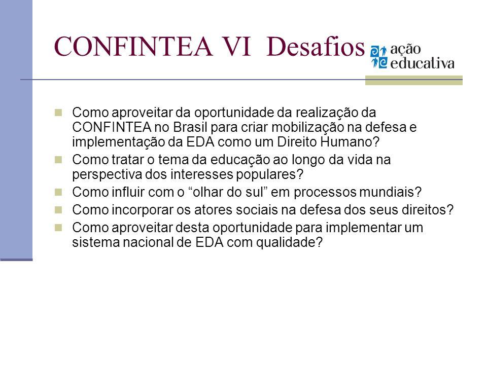 CONFINTEA VI Desafios Como aproveitar da oportunidade da realização da CONFINTEA no Brasil para criar mobilização na defesa e implementação da EDA com
