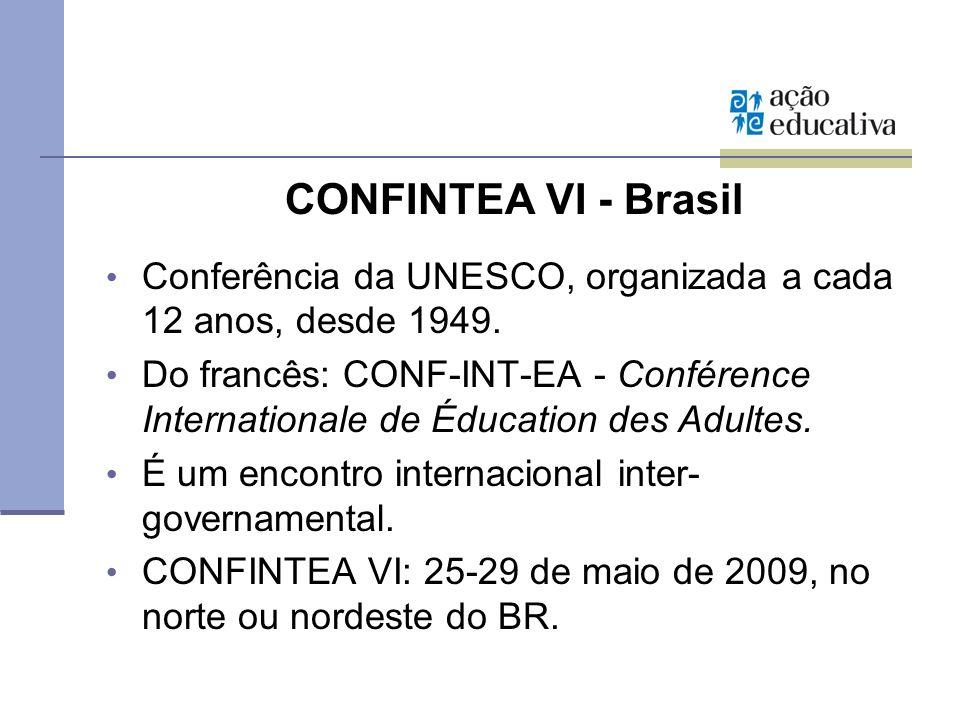 CONFINTEA VI - Brasil Conferência da UNESCO, organizada a cada 12 anos, desde 1949. Do francês: CONF-INT-EA - Conférence Internationale de Éducation d