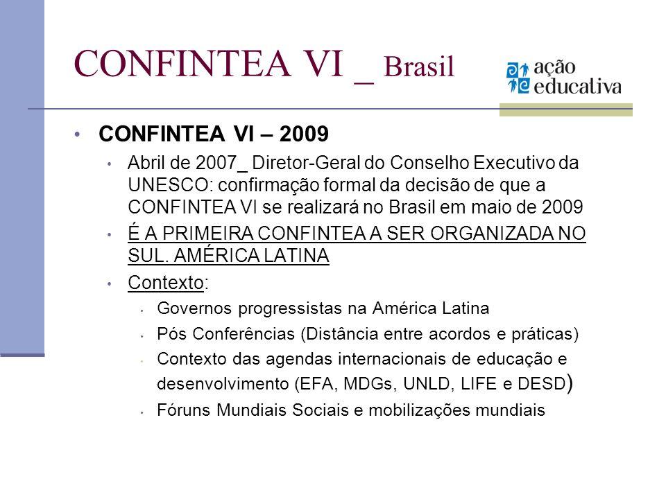 CONFINTEA VI _ Brasil CONFINTEA VI – 2009 Abril de 2007_ Diretor-Geral do Conselho Executivo da UNESCO: confirmação formal da decisão de que a CONFINT