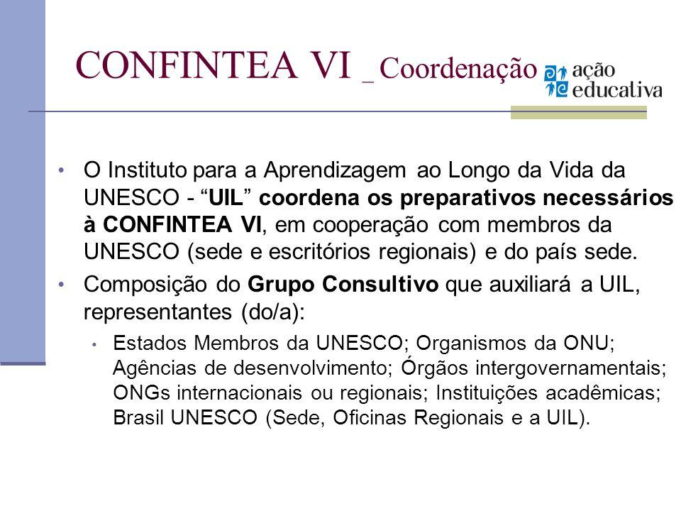 CONFINTEA VI _ Coordenação O Instituto para a Aprendizagem ao Longo da Vida da UNESCO - UIL coordena os preparativos necessários à CONFINTEA VI, em co