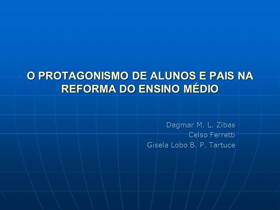 O PROTAGONISMO DE ALUNOS E PAIS NA REFORMA DO ENSINO MÉDIO Dagmar M. L. Zibas Celso Ferretti Gisela Lobo B. P. Tartuce