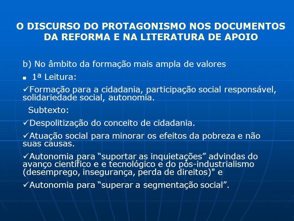 O DISCURSO DO PROTAGONISMO NOS DOCUMENTOS DA REFORMA E NA LITERATURA DE APOIO b) No âmbito da formação mais ampla de valores 1ª Leitura: Formação para