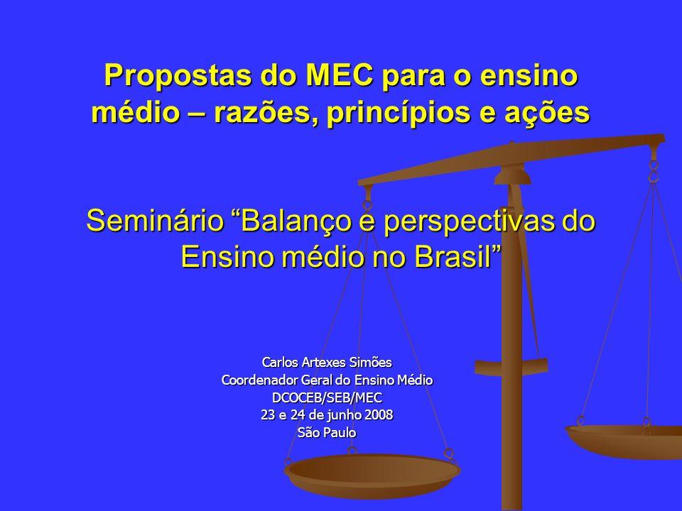 Propostas do MEC para o ensino médio – razões, princípios e ações Seminário Balanço e perspectivas do Ensino médio no Brasil Carlos Artexes Simões Coo
