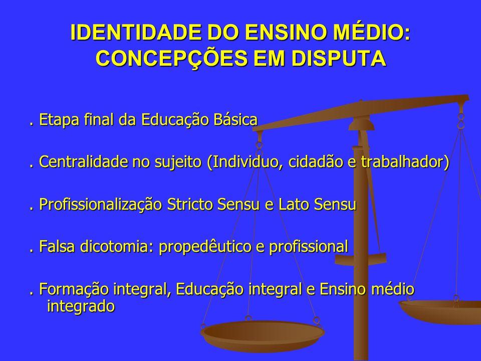 IDENTIDADE DO ENSINO MÉDIO: CONCEPÇÕES EM DISPUTA. Etapa final da Educação Básica. Centralidade no sujeito (Individuo, cidadão e trabalhador). Profiss