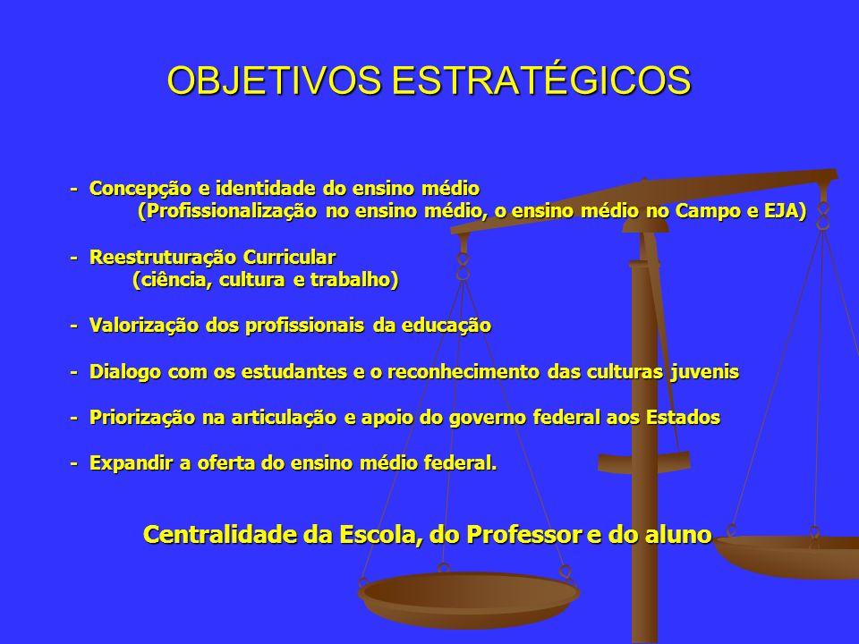 OBJETIVOS ESTRATÉGICOS - Concepção e identidade do ensino médio - Concepção e identidade do ensino médio (Profissionalização no ensino médio, o ensino