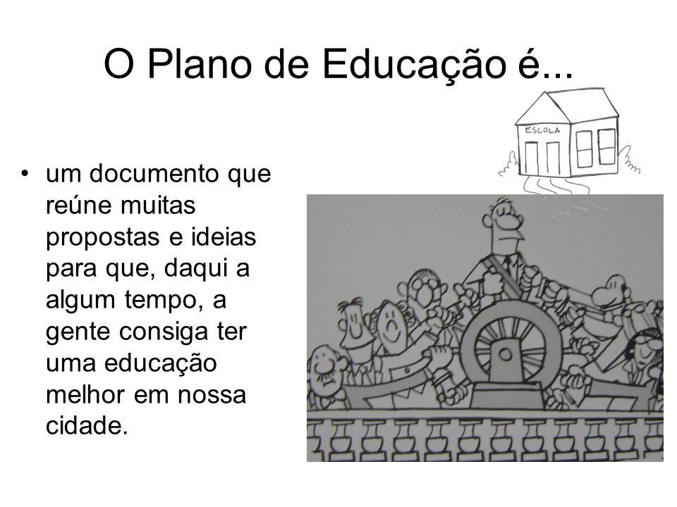 O Plano de Educação é... um documento que reúne muitas propostas e ideias para que, daqui a algum tempo, a gente consiga ter uma educação melhor em no