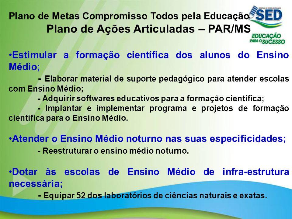 21 Plano de Metas Compromisso Todos pela Educação Plano de Ações Articuladas – PAR/MS Estimular a formação científica dos alunos do Ensino Médio; - El