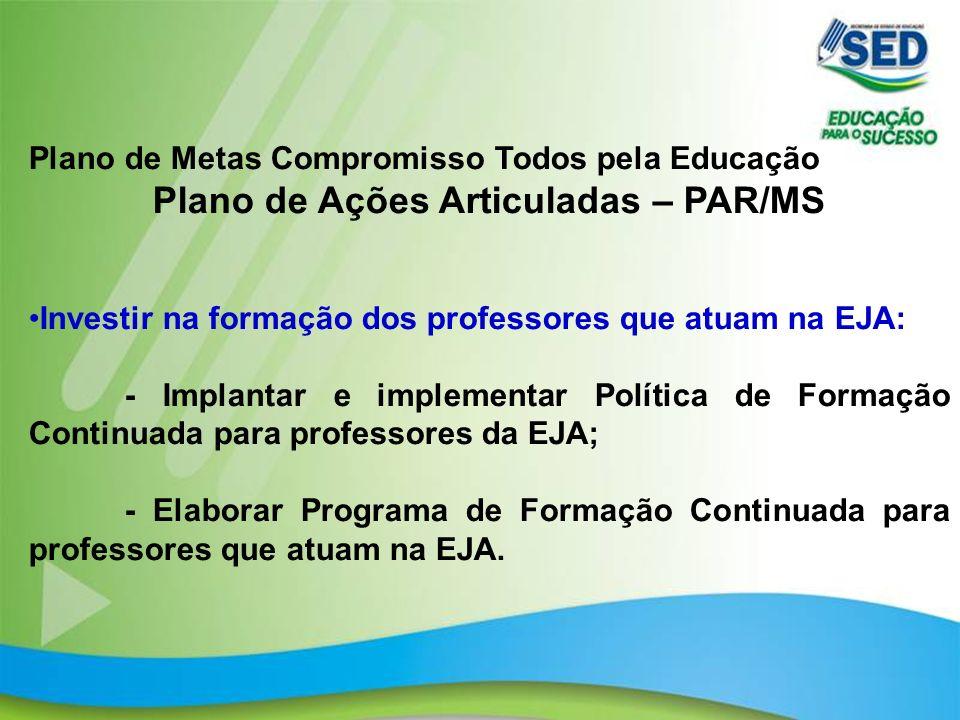 22 Plano de Metas Compromisso Todos pela Educação Plano de Ações Articuladas – PAR/MS Investir na formação dos professores que atuam na EJA: - Implant
