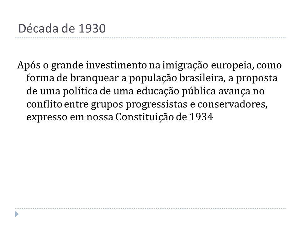 Década de 1930 Após o grande investimento na imigração europeia, como forma de branquear a população brasileira, a proposta de uma política de uma edu