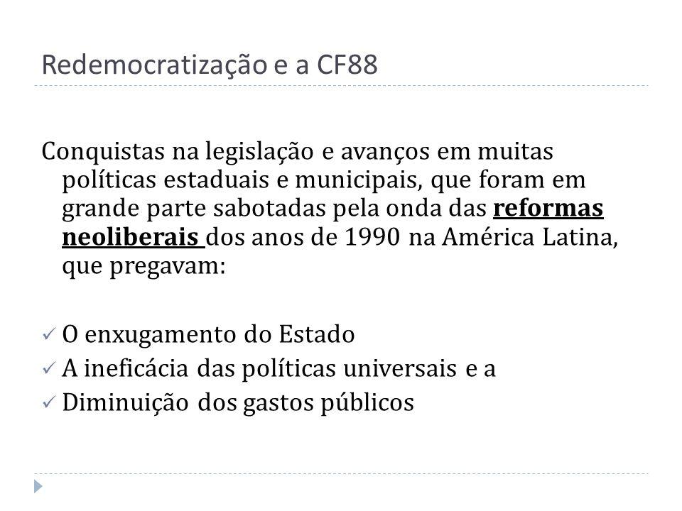 Redemocratização e a CF88 Conquistas na legislação e avanços em muitas políticas estaduais e municipais, que foram em grande parte sabotadas pela onda