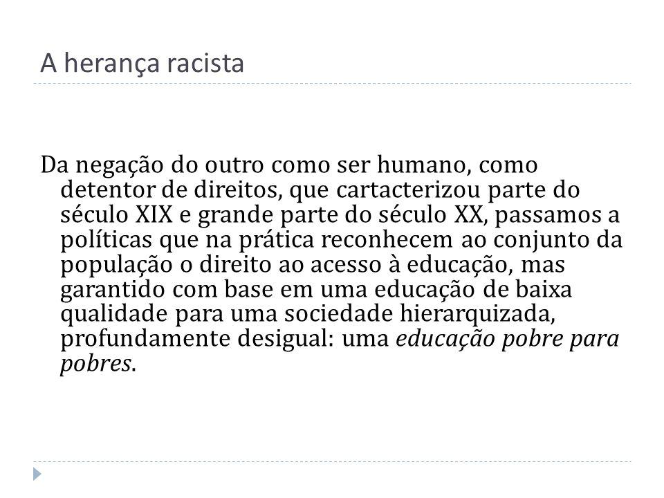 A herança racista Da negação do outro como ser humano, como detentor de direitos, que cartacterizou parte do século XIX e grande parte do século XX, p