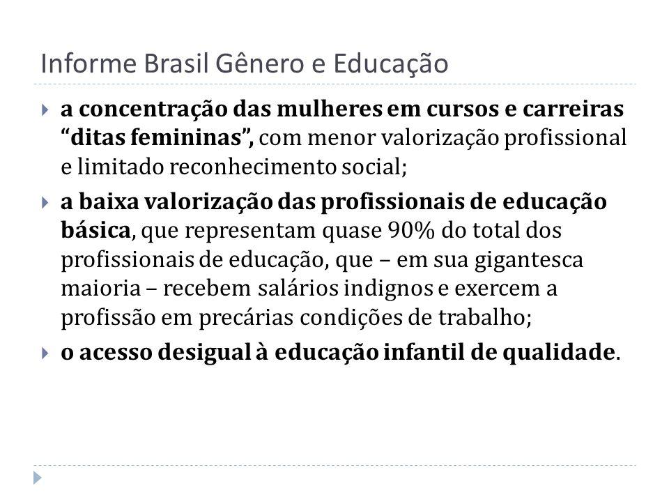 Informe Brasil Gênero e Educação a concentração das mulheres em cursos e carreiras ditas femininas, com menor valorização profissional e limitado reco
