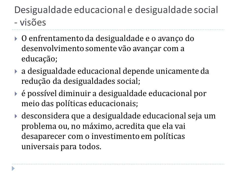 Desigualdade educacional e desigualdade social - visões O enfrentamento da desigualdade e o avanço do desenvolvimento somente vão avançar com a educaç