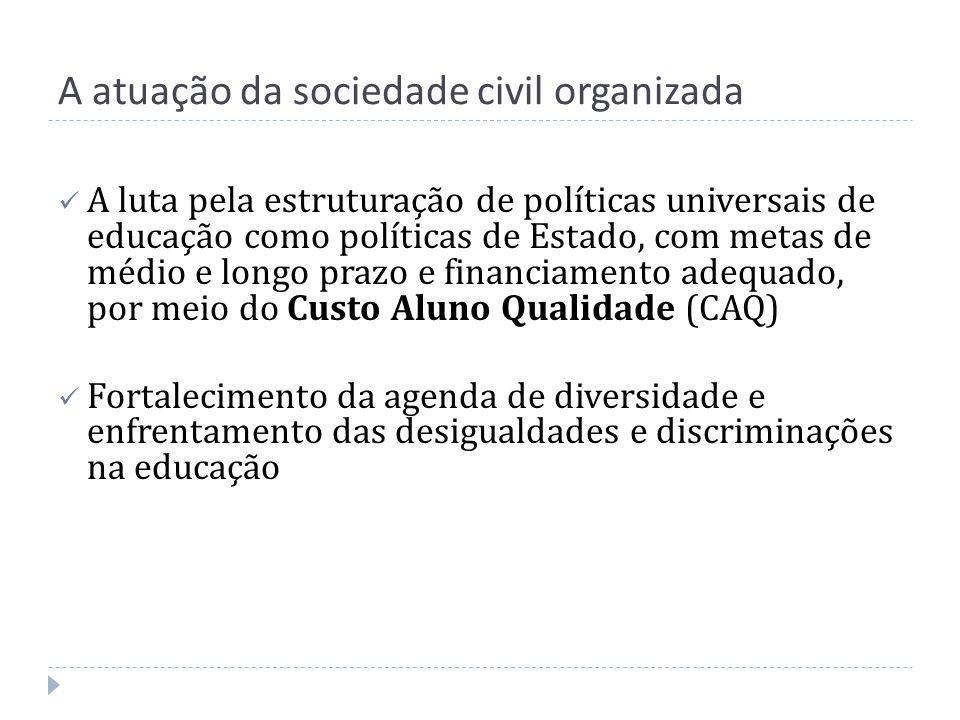 A atuação da sociedade civil organizada A luta pela estruturação de políticas universais de educação como políticas de Estado, com metas de médio e lo