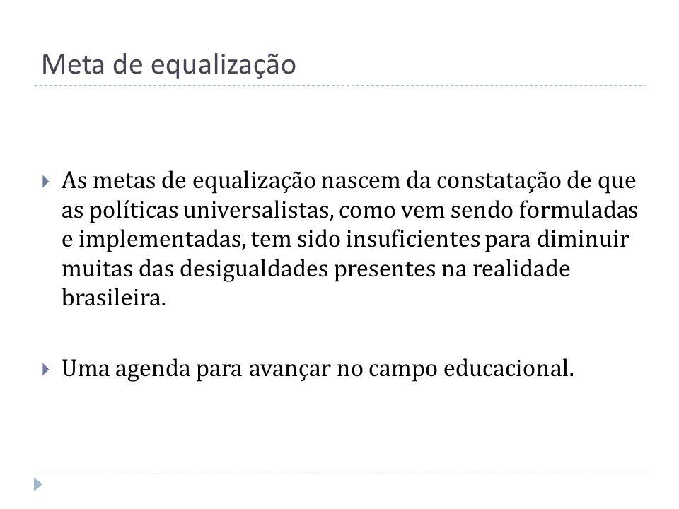 Meta de equalização As metas de equalização nascem da constatação de que as políticas universalistas, como vem sendo formuladas e implementadas, tem s