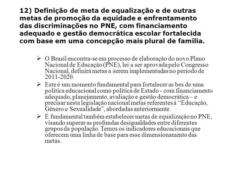 12) Definição de meta de equalização e de outras metas de promoção da equidade e enfrentamento das discriminações no PNE, com financiamento adequado e