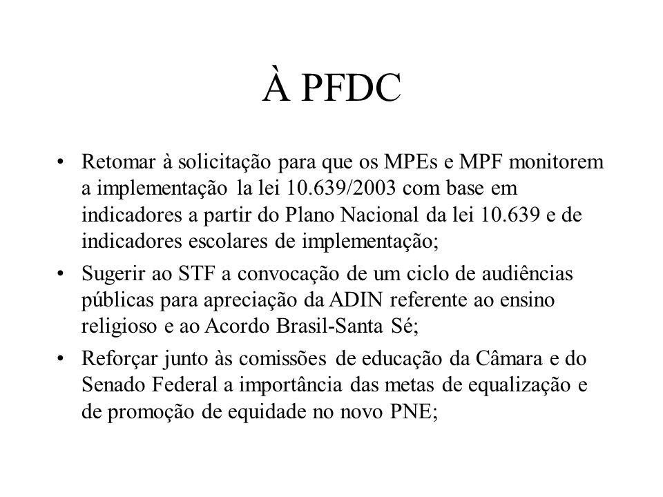 À PFDC Retomar à solicitação para que os MPEs e MPF monitorem a implementação la lei 10.639/2003 com base em indicadores a partir do Plano Nacional da