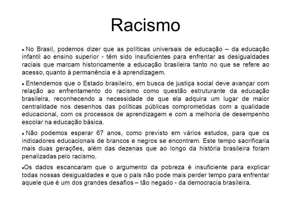 Racismo No Brasil, podemos dizer que as políticas universais de educação – da educação infantil ao ensino superior - têm sido insuficientes para enfre