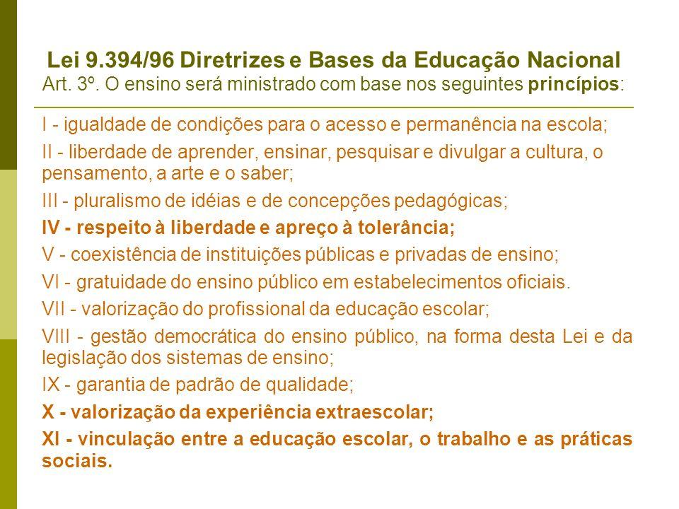 Lei 9.394/96 Diretrizes e Bases da Educação Nacional Art. 3º. O ensino será ministrado com base nos seguintes princípios: I - igualdade de condições p