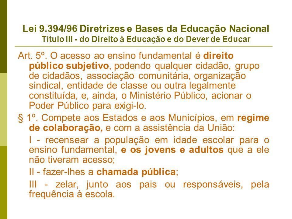 Lei 9.394/96 Diretrizes e Bases da Educação Nacional Título III - do Direito à Educação e do Dever de Educar Art. 5º. O acesso ao ensino fundamental é