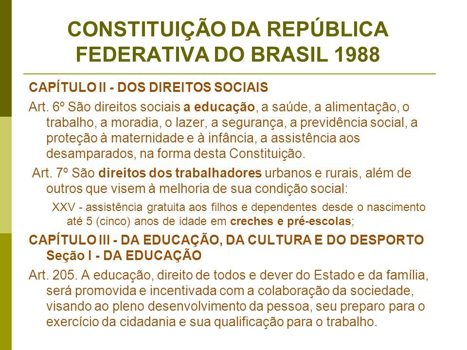 CONSTITUIÇÃO DA REPÚBLICA FEDERATIVA DO BRASIL 1988 CAPÍTULO II - DOS DIREITOS SOCIAIS Art. 6º São direitos sociais a educação, a saúde, a alimentação