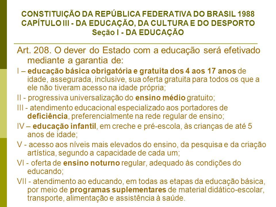 CONSTITUIÇÃO DA REPÚBLICA FEDERATIVA DO BRASIL 1988 CAPÍTULO III - DA EDUCAÇÃO, DA CULTURA E DO DESPORTO Seção I - DA EDUCAÇÃO Art. 208. O dever do Es