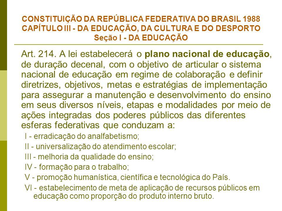 CONSTITUIÇÃO DA REPÚBLICA FEDERATIVA DO BRASIL 1988 CAPÍTULO III - DA EDUCAÇÃO, DA CULTURA E DO DESPORTO Seção I - DA EDUCAÇÃO Art. 214. A lei estabel