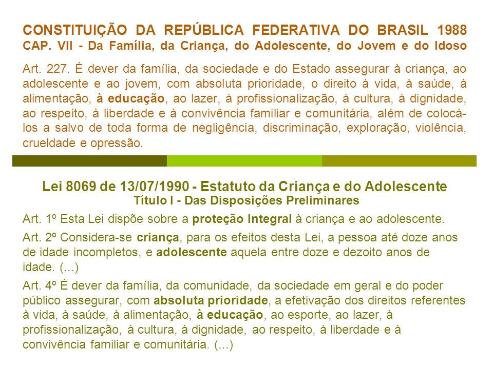 CONSTITUIÇÃO DA REPÚBLICA FEDERATIVA DO BRASIL 1988 CAP. VII - Da Família, da Criança, do Adolescente, do Jovem e do Idoso Art. 227. É dever da famíli