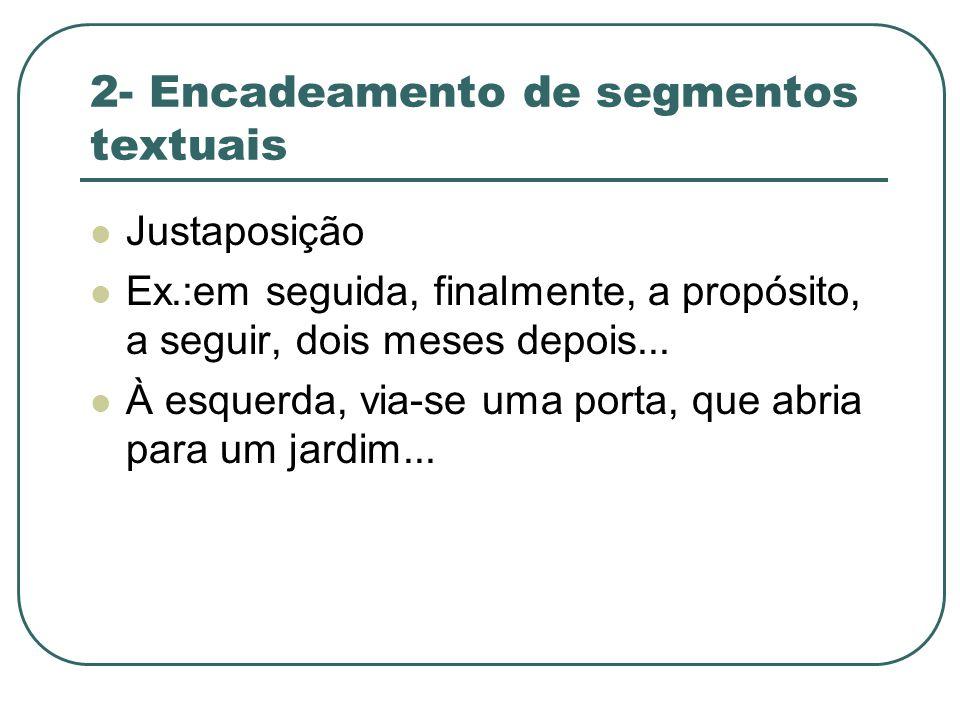 2- Encadeamento de segmentos textuais Justaposição Ex.:em seguida, finalmente, a propósito, a seguir, dois meses depois... À esquerda, via-se uma port