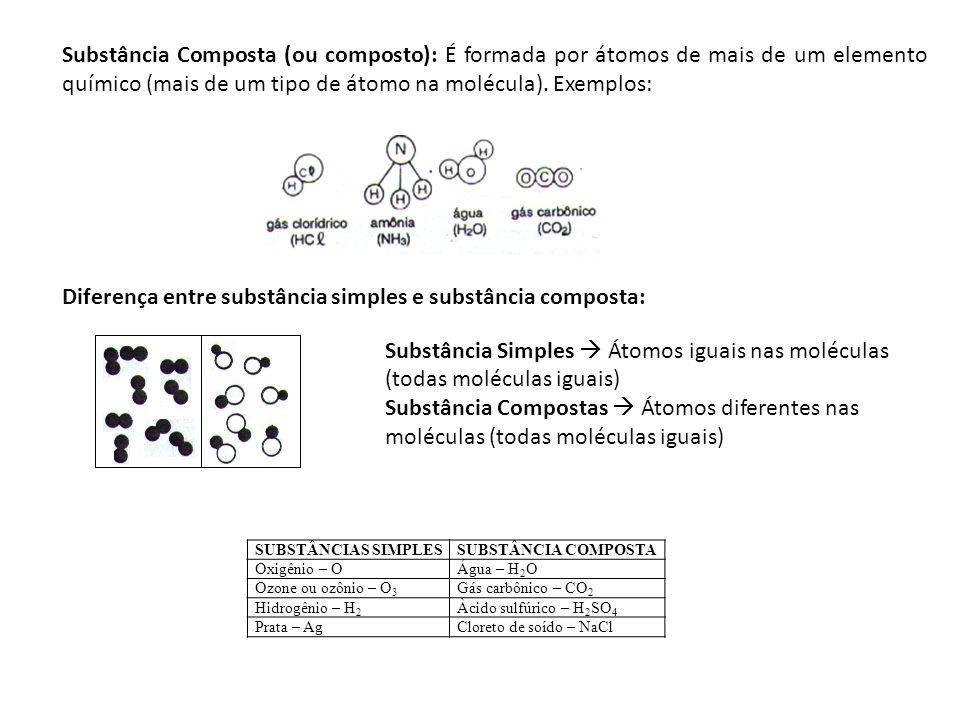 Substância Composta (ou composto): É formada por átomos de mais de um elemento químico (mais de um tipo de átomo na molécula). Exemplos: Diferença ent