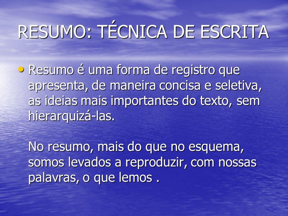 RESUMO: TÉCNICA DE ESCRITA Resumo é uma forma de registro que apresenta, de maneira concisa e seletiva, as ideias mais importantes do texto, sem hiera