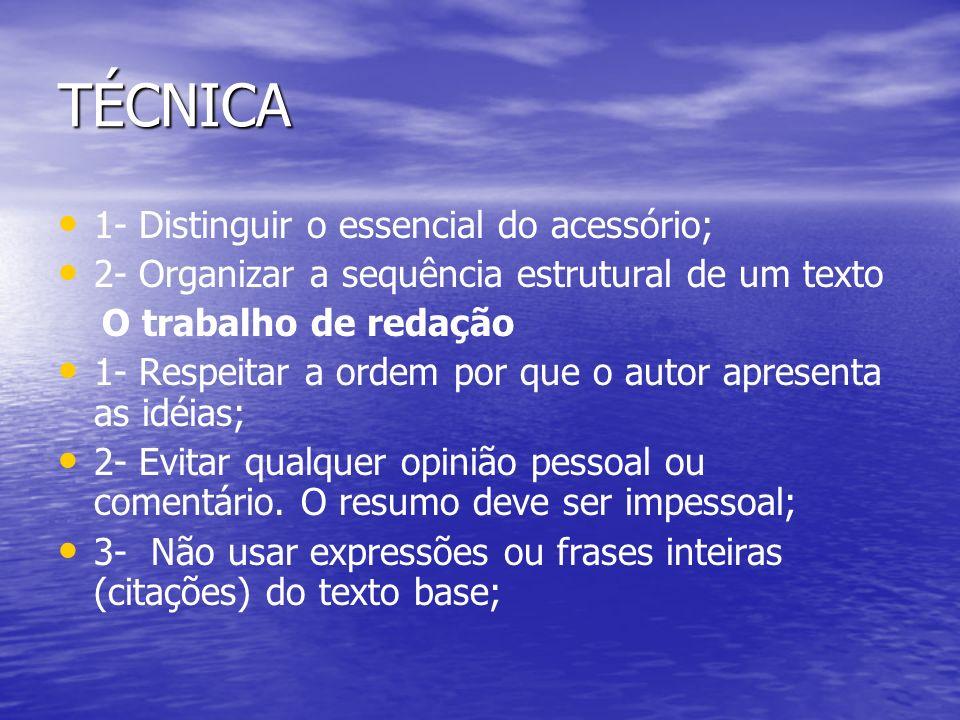 TÉCNICA 1- Distinguir o essencial do acessório; 2- Organizar a sequência estrutural de um texto O trabalho de redação 1- Respeitar a ordem por que o a