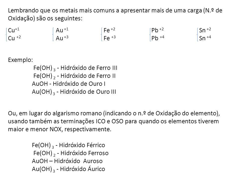 Lembrando que os metais mais comuns a apresentar mais de uma carga (N.º de Oxidação) são os seguintes: Cu +1 Au +1 Fe +2 Pb +2 Sn +2 Cu +2 Au +3 Fe +3