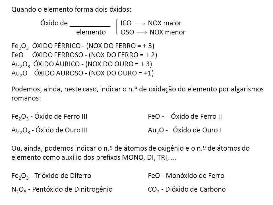 Quando o elemento forma dois óxidos: Óxido de ___________ICONOX maior elementoOSO NOX menor Fe 2 O 3 ÓXIDO FÉRRICO - (NOX DO FERRO = + 3) FeO ÓXIDO FE
