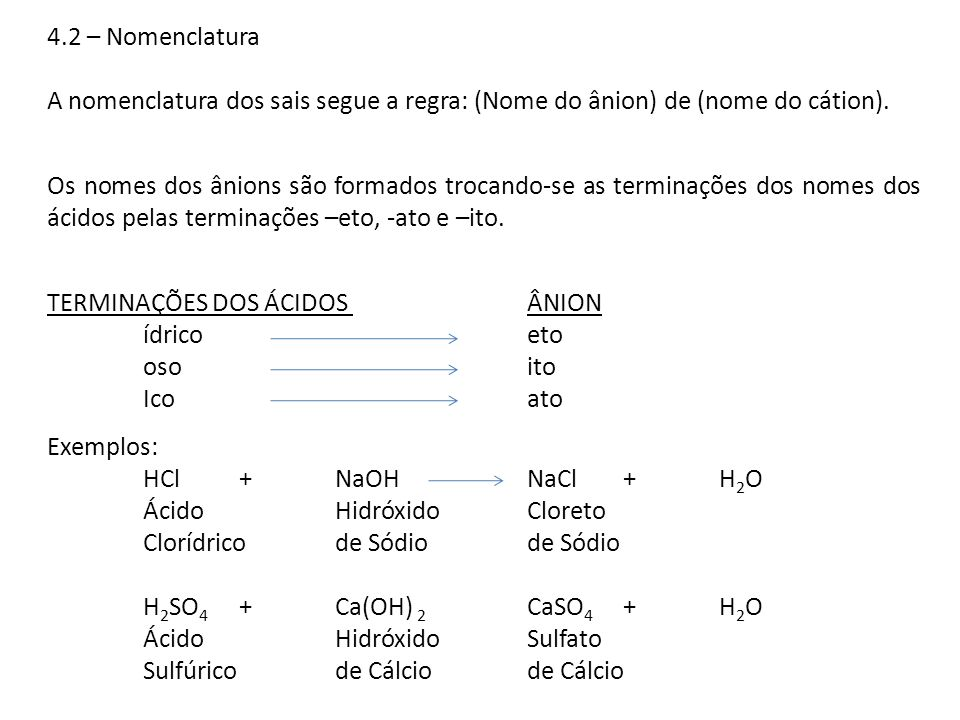 4.2 – Nomenclatura A nomenclatura dos sais segue a regra: (Nome do ânion) de (nome do cátion). Os nomes dos ânions são formados trocando-se as termina
