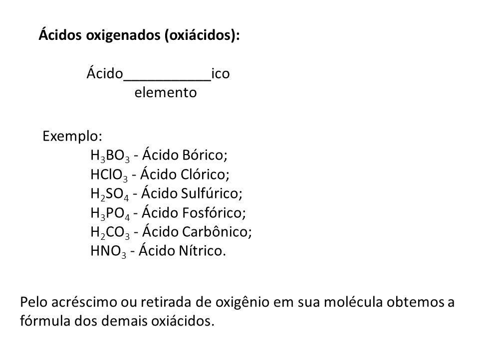 Ácidos oxigenados (oxiácidos): Ácido___________ico elemento Exemplo: H 3 BO 3 - Ácido Bórico; HClO 3 - Ácido Clórico; H 2 SO 4 - Ácido Sulfúrico; H 3