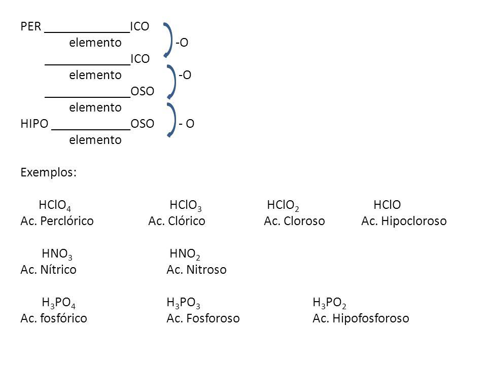 PER _____________ICO elemento -O _____________ICO elemento -O _____________OSO elemento HIPO ____________OSO - O elemento Exemplos: HClO 4 HClO 3 HClO