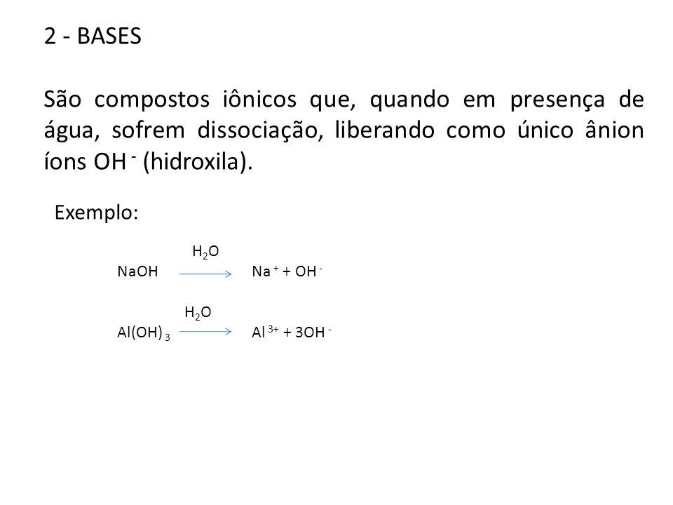 2 - BASES São compostos iônicos que, quando em presença de água, sofrem dissociação, liberando como único ânion íons OH - (hidroxila). Exemplo: H 2 O