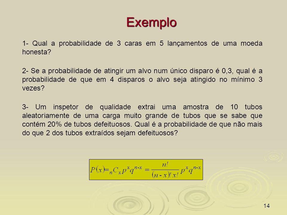 14 Exemplo 1- Qual a probabilidade de 3 caras em 5 lançamentos de uma moeda honesta? 2- Se a probabilidade de atingir um alvo num único disparo é 0,3,