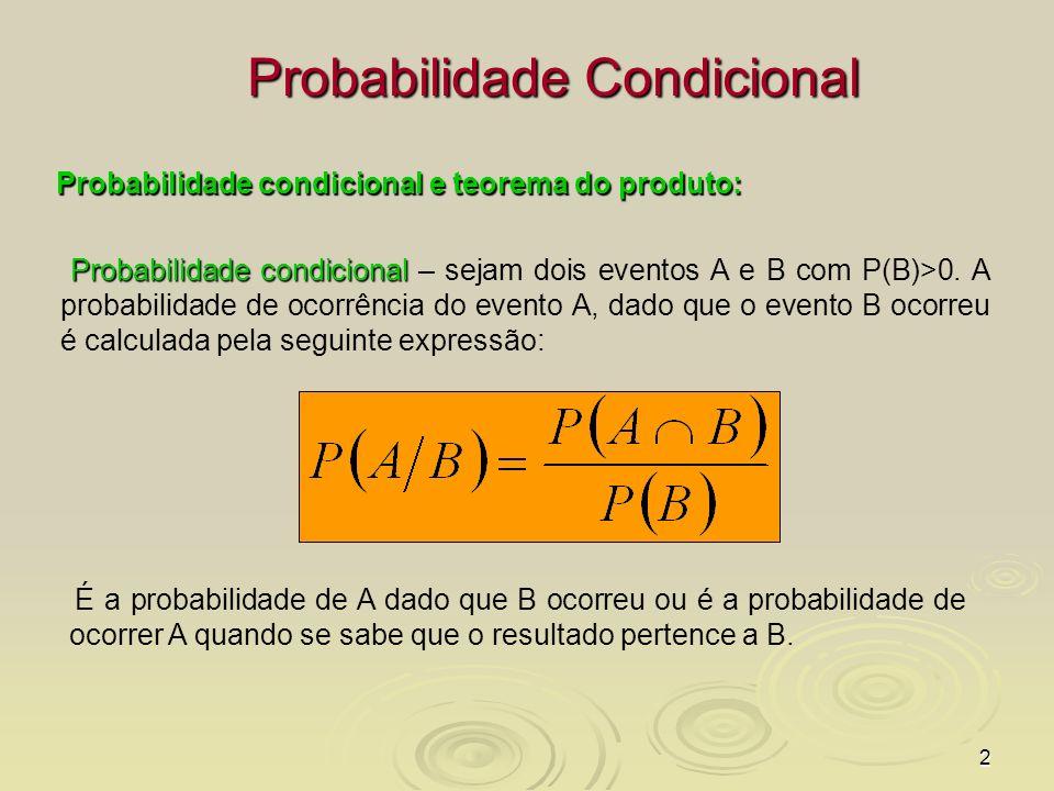 2 Probabilidade Condicional Probabilidade condicional e teorema do produto: Probabilidade condicional Probabilidade condicional – sejam dois eventos A