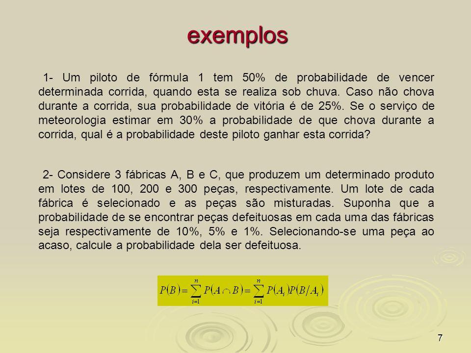 8 Teorema de Bayes Teorema de Bayes – está intimamente relacionado ao teorema da probabilidade total.