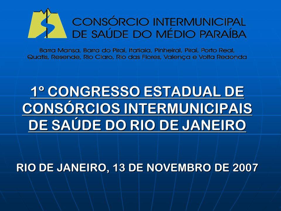 1º CONGRESSO ESTADUAL DE CONSÓRCIOS INTERMUNICIPAIS DE SAÚDE DO RIO DE JANEIRO RIO DE JANEIRO, 13 DE NOVEMBRO DE 2007