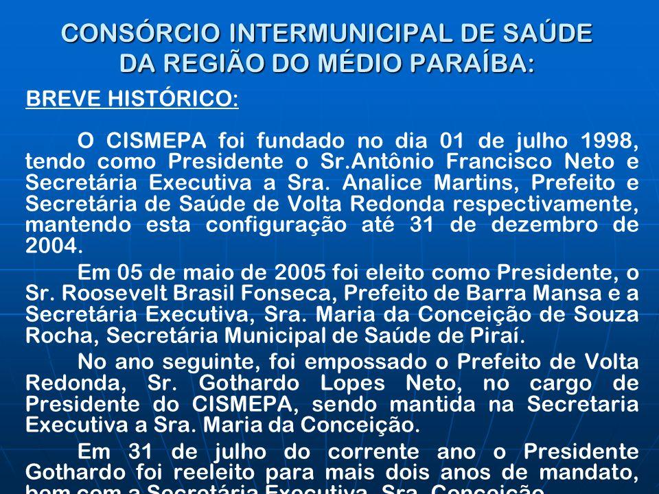CONSÓRCIO INTERMUNICIPAL DE SAÚDE DA REGIÃO DO MÉDIO PARAÍBA: BREVE HISTÓRICO: O CISMEPA foi fundado no dia 01 de julho 1998, tendo como Presidente o Sr.Antônio Francisco Neto e Secretária Executiva a Sra.